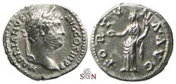 Ancient Coins - Hadrianus Denarius - FORTVNA AVG - RIC 245a - scarce with laureate head