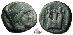 Ancient Coins - Ionia, Kolophon AE 11 mm - head of Apollo - Lyre