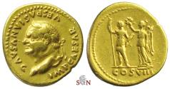 Ancient Coins - Vespasianus Aureus - Vespasianus stg. left with Victory - Calicó 625