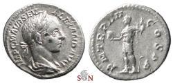 Ancient Coins - Severus Alexander Denarius - Emperor standing left - RIC 48