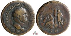 Ancient Coins - Vespasianus Sestertius - IVDAEA CAPTA - Jewess seated left under palm tree - Rare - RIC 426