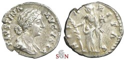 Ancient Coins - Faustina II Denarius - Hilaritas standing left - RIC 686