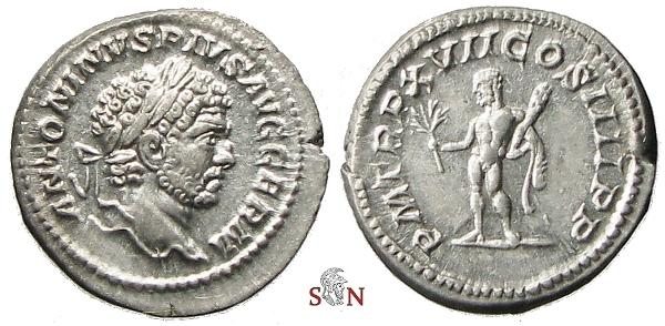 Ancient Coins - Caracalla Denarius - Hercules holding club and branch - RIC 239 - 4,29g (!)