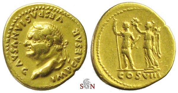 Ancient Coins - Vespasianus Aureus - Vespasianus stg. left with Victory - Calicó 625