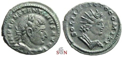 Ancient Coins - Constantinus I. the great Follis - SOLI INVICTO COMITI - RIC 891
