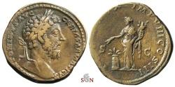 Ancient Coins - Marcus Aurelius Sestertius - Annona with modius - RIC 1154
