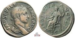 Ancient Coins - Severus Alexander Sestertius - IVSTITIA AVGVSTI - RIC 563 b