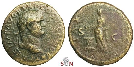 Ancient Coins - Titus As - Pax sacrificing over small altar - RIC 777 b