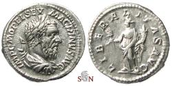 Ancient Coins - Macrinus Denarius - LIBERALITAS AVG - RIC 78a