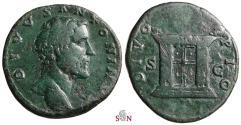 Ancient Coins - Divus Antoninus Pius Sestertius - DIVO PIO - Altar - RIC 1272