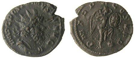 Ancient Coins - Postumus Antoninianus - Victory standing, inscribing shield - Very Rare - Elmer 595