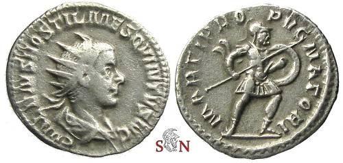 Ancient Coins - Hostilianus Antoninianus - MARTI PROPVGNATORI - RIC 177 b