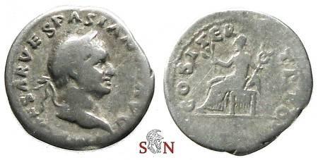 Ancient Coins - Vespasianus Denarius - Pax seated left - RIC 10