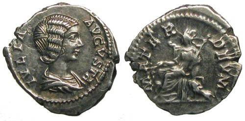 Ancient Coins - Julia Domna Denarius - Cybele seated left - RIC 564