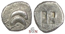 Ancient Coins - Islands off Thrace, Thasos, AR Hemiobol - two dolphins