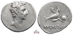Ancient Coins - Octavian as Augustus Denarius - Capricorn right - RIC 126