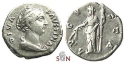 Ancient Coins - Diva Faustina I Denarius - AVGVSTA - Ceres stg. left - RIC 358