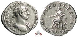 Ancient Coins - Hadrianus Denarius - P M TR P COS DES III - Concordia seated left - RIC 49