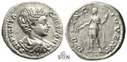 Ancient Coins - Geta denarius - PRINC IVVENT - RIC 15 b - scarce