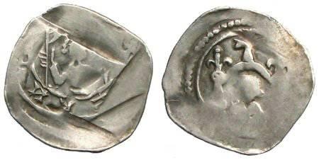 """Ancient Coins - Bernhard von Kärnten """"Friesacher Pfennig"""" - Bust below gable - CNA Cb14"""
