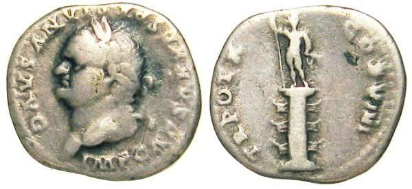 Ancient Coins - Vespasianus Denarius - Sol standing on rostral collumn - RIC 120