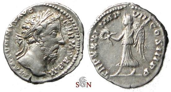 Ancient Coins - Marc Aurel Denarius - Victory advancing left - RIC 378