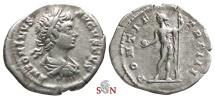 Ancient Coins - Caracalla Denarius - Sol holding globe and spear - RIC 30