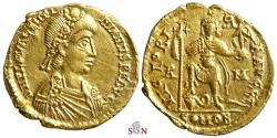Valentinian III. Gold Solidus - Rome mint - Emperor with serpent - RIC 2014