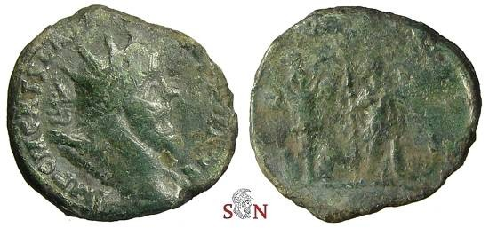 Ancient Coins - Postumus reduced double Sestertius - Emperor with Trophy - Bastien 150a
