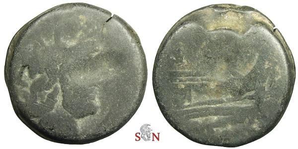 Ancient Coins - Roman Republic As - Head of Janus - Prow