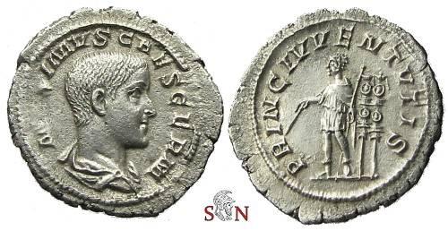 Ancient Coins - Maximus Caesar Denarius - PRINC IVVENTVTIS - RIC 3