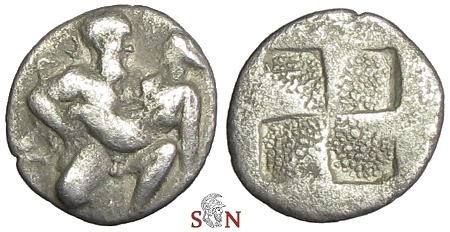 Ancient Coins - Islands off Thrace, Thasos, Ar Drachm - Satyr facing front, carrying off protesting nymph.