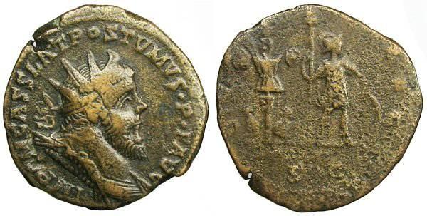 Ancient Coins - Postumus Double Sestertius - Postumus with trophy of arms - Bastien 163 a