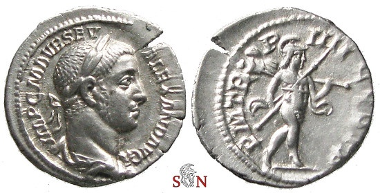 Ancient Coins - Severus Alexander denarius - Mars advancing right - RIC 45