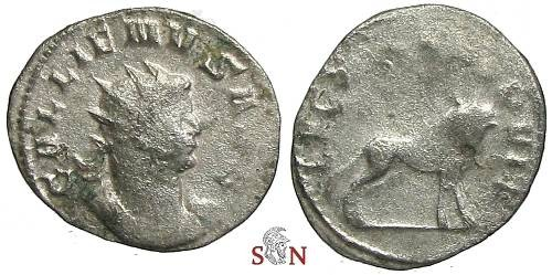 Ancient Coins - Gallienus Antoninianus - LEG X GEM VI P VI F, bull advancing right -  RIC 3577
