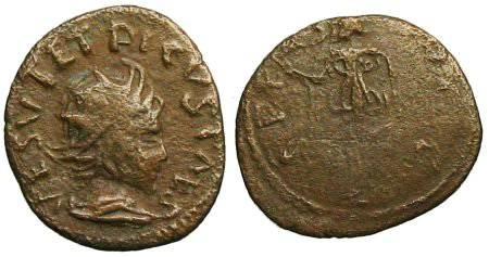 Ancient Coins - Tetricus II Local Imitation - Spes walking left - Barbarous Radiate