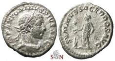 Ancient Coins - Elagabalus Denarius - SVMMVS SACERDOS AVG - RIC 146