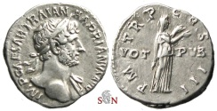 Ancient Coins - Hadrianus Denarius - VOT PVB - Pietas stg. right - RIC 113