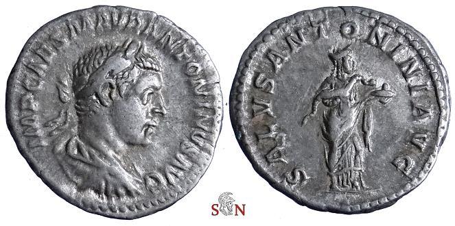Ancient Coins - Elagabalus Denarius - SALVS ANTONINI AVG - RIC 140