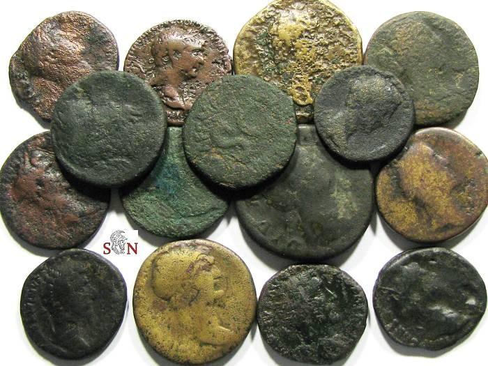 Ancient Coins - Lot of 15 Roman Imperial large Bronze Coins, including Sestertii, Dupondii and Asses