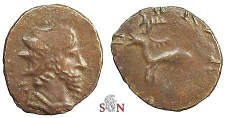 Ancient Coins - Tetricus I local imitation - belling stag standing left - Exceedingly Rare