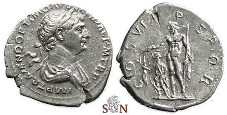 Ancient Coins - Trajanus Denarius - COS VI PP SPQR - Jupiter with Trajan - RIC 298