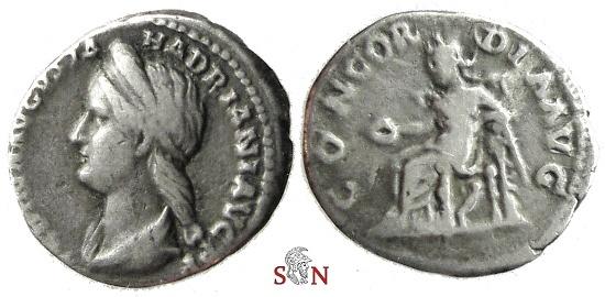 Ancient Coins - Sabina Denarius - CONCORDIA AVG - Rare with left-facing bust - RIC 398