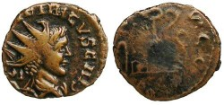 Ancient Coins - Tetricus II Local Imitation - Sacrificial Implements - Barbarous Radiate
