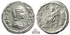 Ancient Coins - Julia Domna Denarius - PVDICITIA - head facing - RIC 575