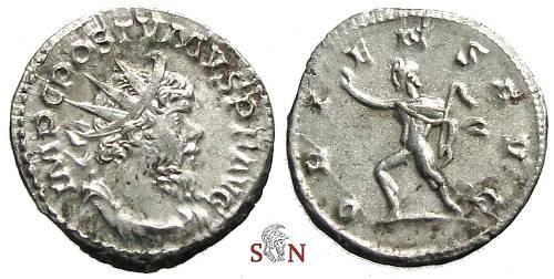 Ancient Coins - Postumus Antoninianus - ORIENS AVG - Elmer 569 - bare headed Sol (!)