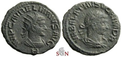 Ancient Coins - Aurelianus with Vabalathus Antoninianus - RIC 381