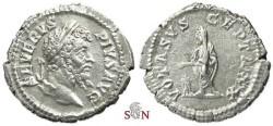 Ancient Coins - Septimius Severus Denarius - VOTA SVSCEPTA XX - RIC 129