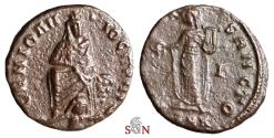 Ancient Coins - Time of Maximinus II Æ16 - Persecution Issue - Tyche/ River god Orontes - Apollo with lyre