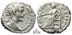 Ancient Coins - Septimius Severus Denarius - Pax seated left - Laodicea ad mare mint - RIC 490a
